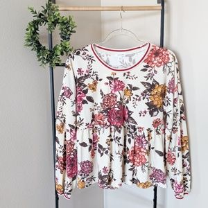 Eyeshadow | Fall Floral Ruffle Hem Long Sleeve L